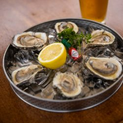 fresh oysters available at the basin grill on the hudson river